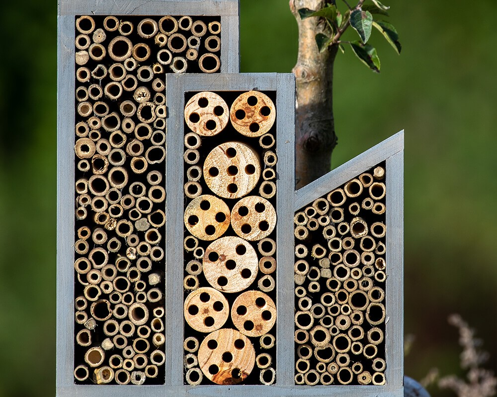 Grey Triple Wooden Bee Hotel